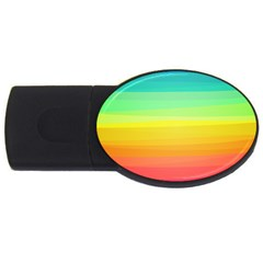 Sweet Colored Stripes Background Usb Flash Drive Oval (4 Gb)  by TastefulDesigns