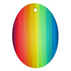 Sweet Colored Stripes Background Oval Ornament (two Sides) by TastefulDesigns