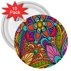 Festive Colorful Ornamental Background 3  Buttons (10 Pack)  by TastefulDesigns