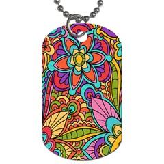 Festive Colorful Ornamental Background Dog Tag (two Sides) by TastefulDesigns