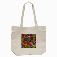 Festive Colorful Ornamental Background Tote Bag (cream) by TastefulDesigns