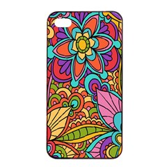 Festive Colorful Ornamental Background Apple Iphone 4/4s Seamless Case (black) by TastefulDesigns
