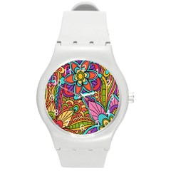 Festive Colorful Ornamental Background Round Plastic Sport Watch (m) by TastefulDesigns
