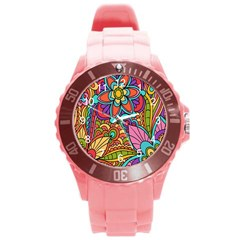 Festive Colorful Ornamental Background Round Plastic Sport Watch (l) by TastefulDesigns