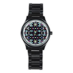 Multicolored Galaxy Pattern Stainless Steel Round Watch by dflcprints