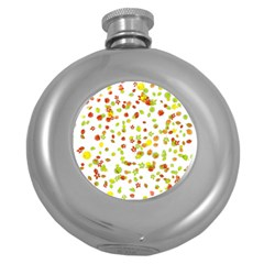 Colorful Fall Leaves Background Round Hip Flask (5 Oz) by TastefulDesigns