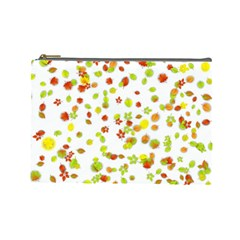 Colorful Fall Leaves Background Cosmetic Bag (large)  by TastefulDesigns