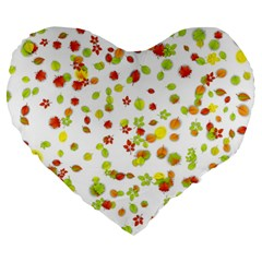 Colorful Fall Leaves Background Large 19  Premium Heart Shape Cushions by TastefulDesigns