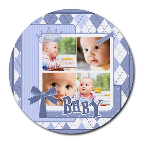 Baby By Baby   Collage Round Mousepad   Yy9dcrohfwd2   Www Artscow Com 8 x8 Round Mousepad - 1