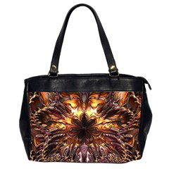Golden Metallic Abstract Flower Office Handbags (2 Sides)  by CrypticFragmentsDesign
