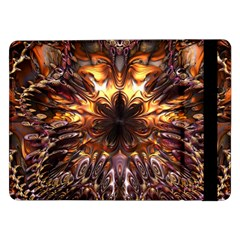 Golden Metallic Abstract Flower Samsung Galaxy Tab Pro 12 2  Flip Case by CrypticFragmentsDesign