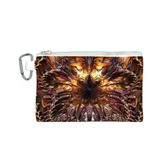 Golden Metallic Abstract Flower Canvas Cosmetic Bag (s) by CrypticFragmentsDesign