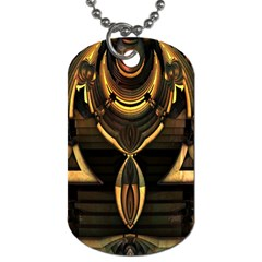 Golden Metallic Geometric Abstract Modern Art Dog Tag (two Sides) by CrypticFragmentsDesign