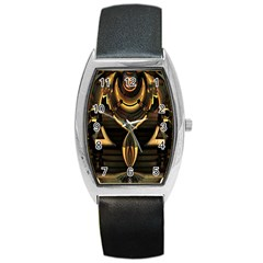Golden Metallic Geometric Abstract Modern Art Barrel Style Metal Watch by CrypticFragmentsDesign