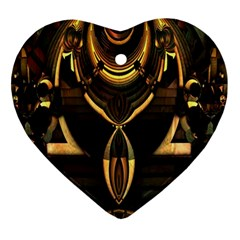 Golden Metallic Geometric Abstract Modern Art Heart Ornament (two Sides) by CrypticFragmentsDesign