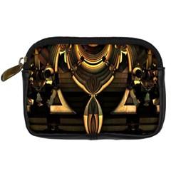 Golden Metallic Geometric Abstract Modern Art Digital Camera Leather Case by CrypticFragmentsDesign