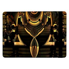 Golden Metallic Geometric Abstract Modern Art Samsung Galaxy Tab Pro 12 2  Flip Case by CrypticFragmentsDesign