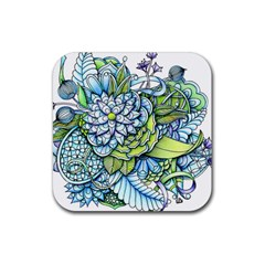 Peaceful Flower Garden 1 Rubber Coaster (square) by Zandiepants