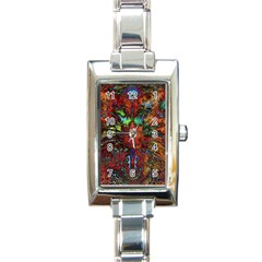 Boho Bohemian Hippie Floral Abstract Rectangle Italian Charm Watch by CrypticFragmentsDesign
