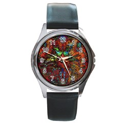 Boho Bohemian Hippie Floral Abstract Round Metal Watch by CrypticFragmentsDesign