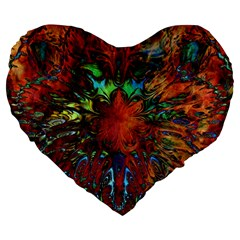 Boho Bohemian Hippie Floral Abstract Large 19  Premium Heart Shape Cushions by CrypticFragmentsDesign