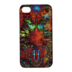 Boho Bohemian Hippie Floral Abstract Apple Iphone 4/4s Hardshell Case With Stand by CrypticFragmentsDesign