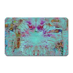 Retro Hippie Abstract Floral Blue Violet Magnet (rectangular) by CrypticFragmentsDesign