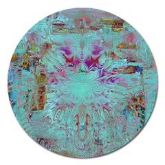 Retro Hippie Abstract Floral Blue Violet Magnet 5  (round) by CrypticFragmentsDesign