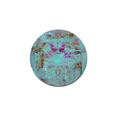 Retro Hippie Abstract Floral Blue Violet Golf Ball Marker (4 Pack) by CrypticFragmentsDesign