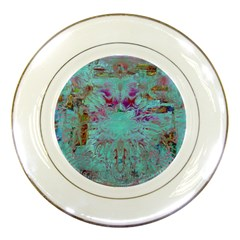 Retro Hippie Abstract Floral Blue Violet Porcelain Plates by CrypticFragmentsDesign