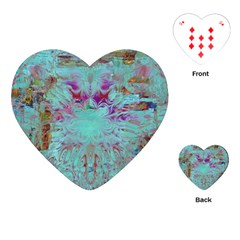 Retro Hippie Abstract Floral Blue Violet Playing Cards (heart)  by CrypticFragmentsDesign