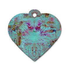 Retro Hippie Abstract Floral Blue Violet Dog Tag Heart (two Sides) by CrypticFragmentsDesign