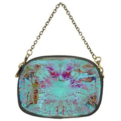 Retro Hippie Abstract Floral Blue Violet Chain Purses (one Side)  by CrypticFragmentsDesign