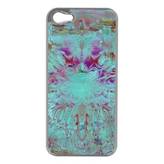 Retro Hippie Abstract Floral Blue Violet Apple Iphone 5 Case (silver) by CrypticFragmentsDesign