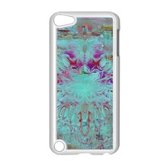 Retro Hippie Abstract Floral Blue Violet Apple Ipod Touch 5 Case (white) by CrypticFragmentsDesign