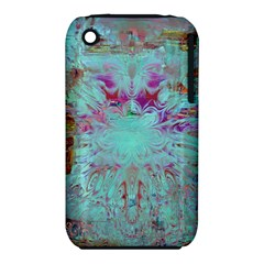 Retro Hippie Abstract Floral Blue Violet Apple Iphone 3g/3gs Hardshell Case (pc+silicone) by CrypticFragmentsDesign