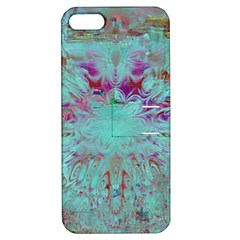 Retro Hippie Abstract Floral Blue Violet Apple Iphone 5 Hardshell Case With Stand by CrypticFragmentsDesign