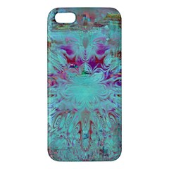 Retro Hippie Abstract Floral Blue Violet Apple Iphone 5 Premium Hardshell Case by CrypticFragmentsDesign