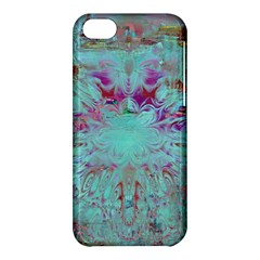 Retro Hippie Abstract Floral Blue Violet Apple Iphone 5c Hardshell Case by CrypticFragmentsDesign