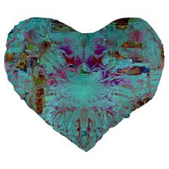 Retro Hippie Abstract Floral Blue Violet Large 19  Premium Flano Heart Shape Cushions by CrypticFragmentsDesign