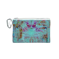 Retro Hippie Abstract Floral Blue Violet Canvas Cosmetic Bag (s) by CrypticFragmentsDesign