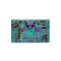 Retro Hippie Abstract Floral Blue Violet Cosmetic Bag (xs) by CrypticFragmentsDesign