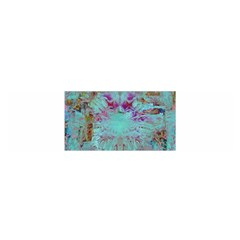 Retro Hippie Abstract Floral Blue Violet Satin Scarf (oblong) by CrypticFragmentsDesign