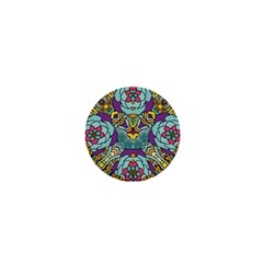 Mariager - Bold blue,purple and yellow flower design 1  Mini Magnet by Zandiepants