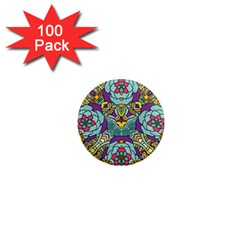 Mariager   Bold Blue,purple And Yellow Flower Design 1  Mini Magnet (100 Pack)  by Zandiepants