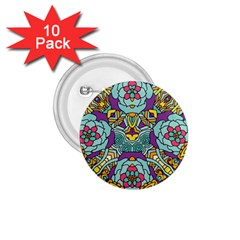 Mariager   Bold Blue,purple And Yellow Flower Design 1 75  Button (10 Pack)  by Zandiepants