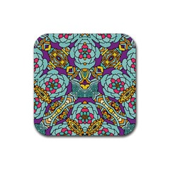 Mariager   Bold Blue,purple And Yellow Flower Design Rubber Coaster (square) by Zandiepants