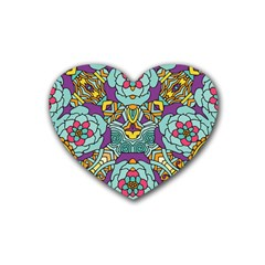 Mariager - Bold blue,purple and yellow flower design Heart Coaster (4 pack) by Zandiepants