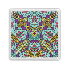 Mariager   Bold Blue,purple And Yellow Flower Design Memory Card Reader (square) by Zandiepants