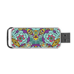 Mariager   Bold Blue,purple And Yellow Flower Design Portable Usb Flash (one Side) by Zandiepants